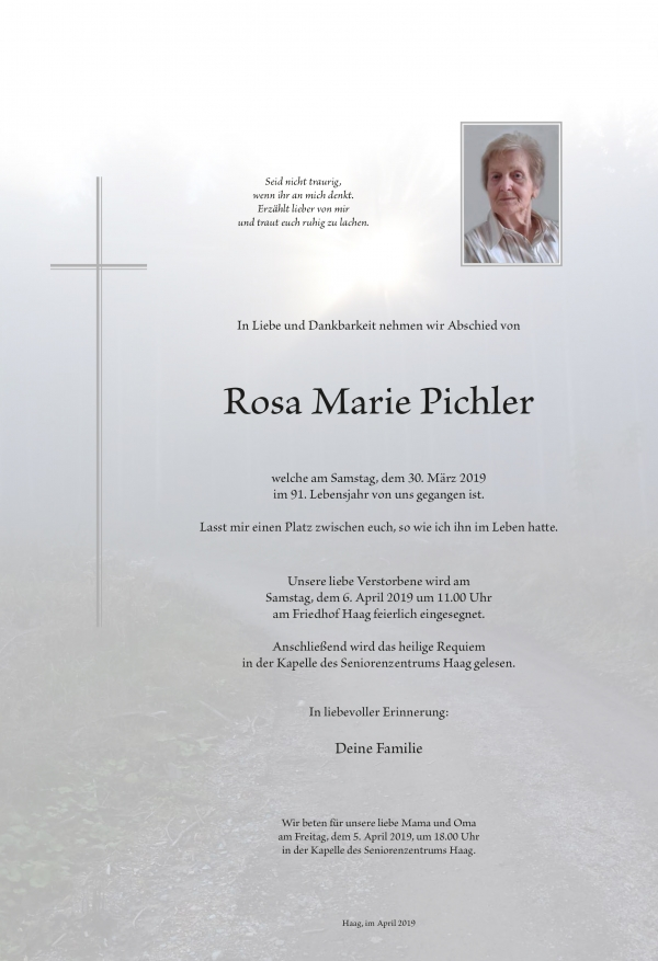 Pichler Rosa Marie, Haag
